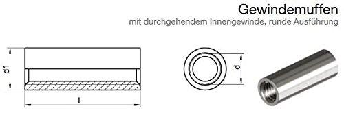 10 St/ück mit durchgehendem Innengewinde Gewindemuffe Rund runde Ausf/ührung Edelstahl A2 M8 x 20
