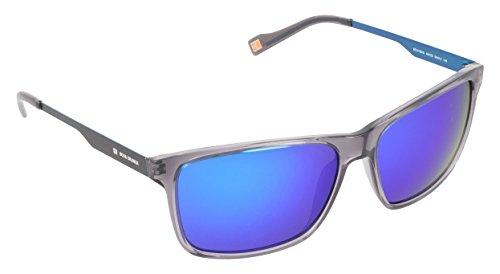 Boss Orange sunglasses BO 0163/S AYPZ0 Acetate Transparent Grey - Matt Black Brown with Blue mirror - Sunglasses Orange Boss Blue