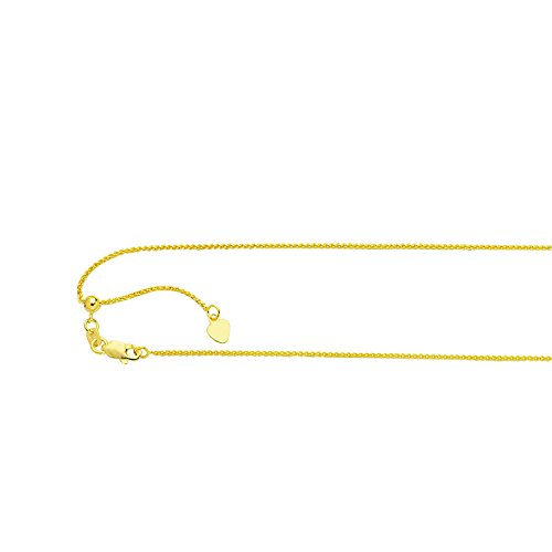 - PriceRock 14K Solid Yellow Gold Adjustable Round Wheat Chain Necklace 1mm thick 30 Inches