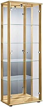 Glasvitrine mit Spiegel in Alu│176x37x33 cm│Sammlervitrine Standvitrine Schrank