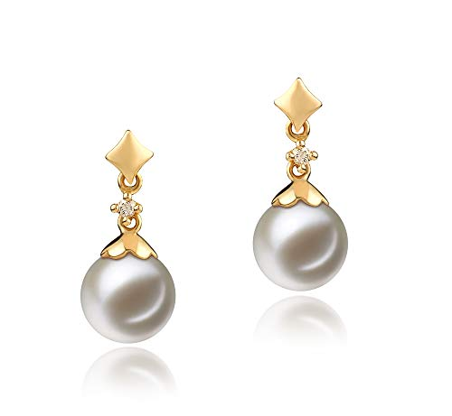 Georgia 7-8mm AAAA Quality Freshwater 14K Yellow Gold Cultured Pearl Earring Pair For Women
