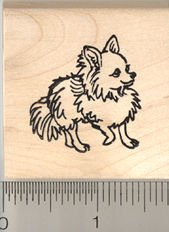 Long Haired Chihuahua Rubber Stamp - Wood Mounted