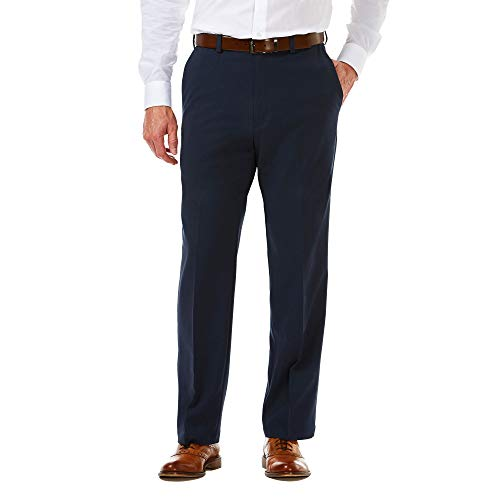 Haggar Men's Cool 18 PRO Classic Fit Flat Front Expandable Waist Pant, Navy, 34Wx29L