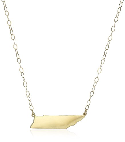 10k Yellow Gold Tennessee State Pendant Necklace, 16