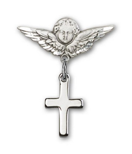 Icecarats Créatrice De Bijoux En Argent Sterling Croix Charme Ange Pin Badge 7/8 X 3/4