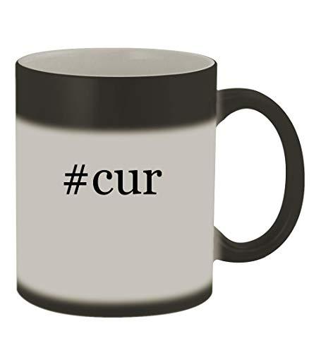 #cur - 11oz Color Changing Hashtag Sturdy Ceramic Coffee Cup Mug, Matte Black