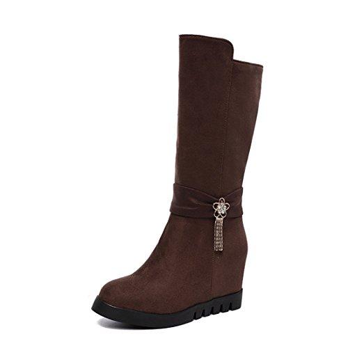 autunno Sandalette stivali moda medio autunno inverno alto tubo e donna da di tacco Metà DEDE donna camoscio brown scarpe stivali YqOY4r