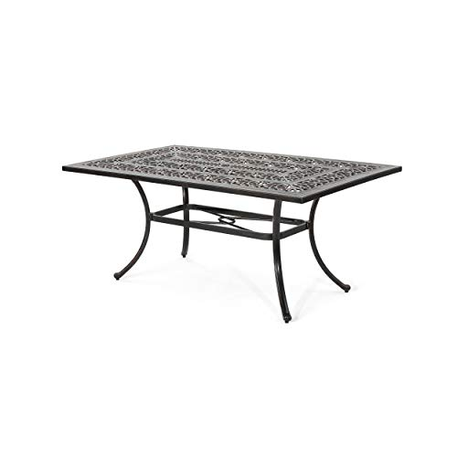 Great Deal Furniture Jamie Outdoor Rectangular Cast Aluminum Dining Table, Shiny Copper