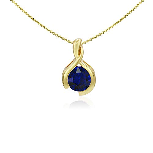 Sea of Ice Yellow Gold Flashed Sterling Silver 8mm Round Created Blue Sapphire Pendant Necklace for Woman, 18 Inch ()