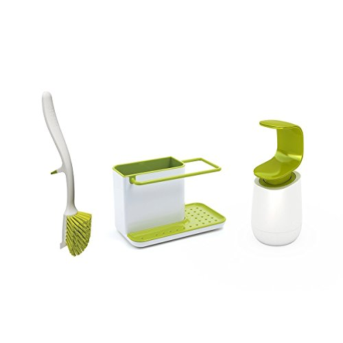 Joseph Joseph Kitchen Sink Set with Caddy, Edge Dish Brush a