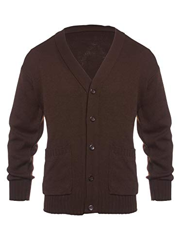 Knit Minded Mens Flat Knit Two Pocket Cardigan Brown - Pockets Two Knit