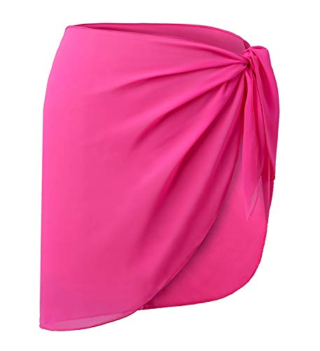 CARDYDONY Women's Beach Sarong Chiffon Cover up for Swimwear Pareo Swimsuit Wrap Skirt Rosy Short Plus Size ()