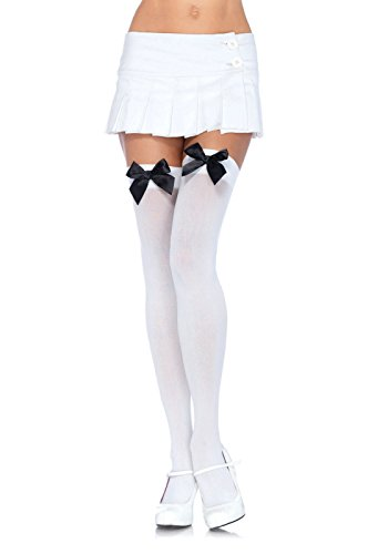 Leg Avenue Women's Opaque Thigh High Stockings with Satin Bow, White/Black, One Size ()