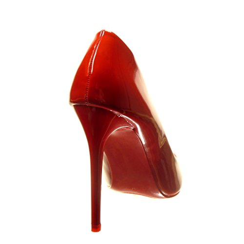 Angkorly - Chaussure Mode Escarpin stiletto sexy femme verni brillant Talon haut aiguille 11 CM - Rouge