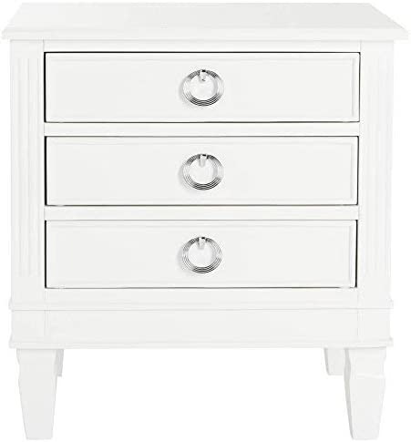 Safavieh Home Collection Kira White 3-Drawer Nightstand