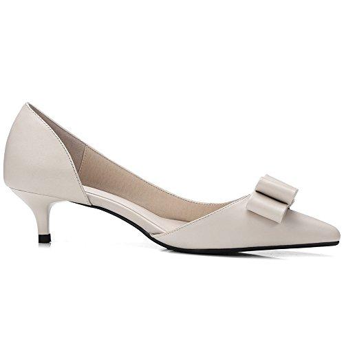 b50d54038ff ... Nine Seven Cuero Moda Puntiagudos Zapatos de Tacón de Aguja con Lazo  para Mujer Beige ...