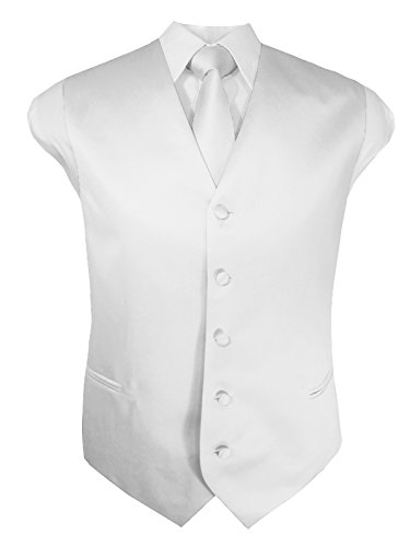 Guytalk Mens 3 Piece Tuxedo Vest for Formal Party, Wedding, Prom, Bartender Large White