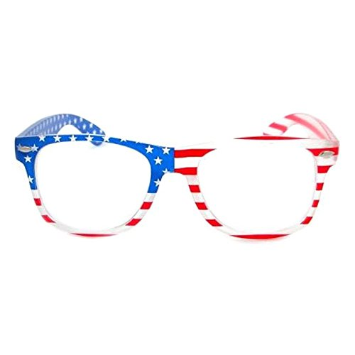 PATRIOTIC Trendy USA American Flag Print Clear Lens Eye Glasses (Frosted - American Made Eyeglass Frames