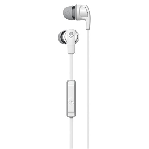 Skullcandy Smokin Buds 2 Noise Isolating Earbuds with in-Line Microphone and Remote, Moisture Resistant, Oval-Shaped and Angled for Long-Term Comfort, White/Gray