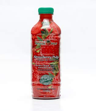 Jungle Pulp STRAWBERRY Puree Mix Pasteurized Fruit from Costa Rica Perfect for Cocktails, Desserts, Smoothies and More. 33.81 Ounce / 1 Liter.