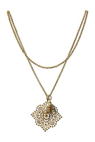 Catherine Popesco La Vie Parisienne Square Medallion Necklace Swarovski Crystals