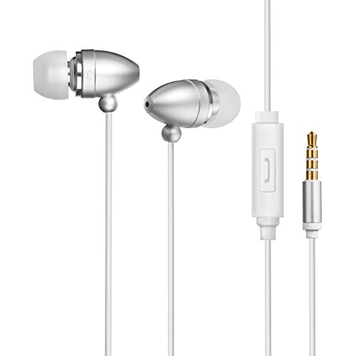 Mini Soft Earbuds (Antopos Wired Earphone, Noise Isolating Earbuds In-ear 3.5mm Headphones with Microphone and Audio Jack Devices (Silver))