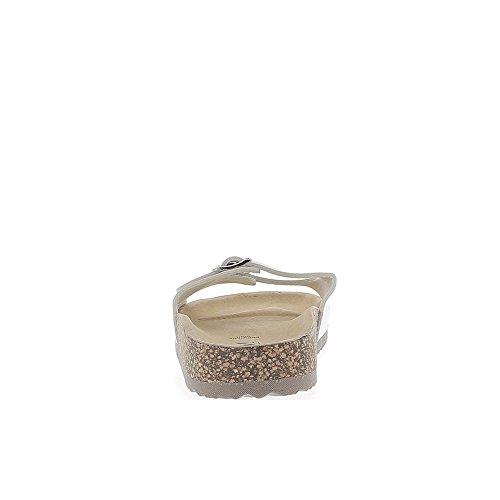 Aspetto bianco muli in pelle suola spessa in pelle lucida con fibbie dorate 2