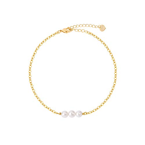 Womens Minimal Jewelry Gift Dainty Tiny Composite Shell Pearls Bracelet 14K Gold Plated/Silver Plated Handmade Jewelry-BR-3Pearl