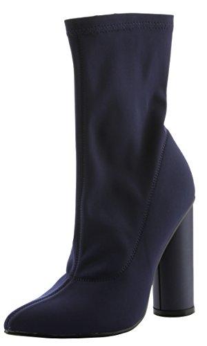 Cape Robbin Vrouwen Puntige Teen Lycra Elastische Pull Op Enkel Bootie Hiel Boot Marine