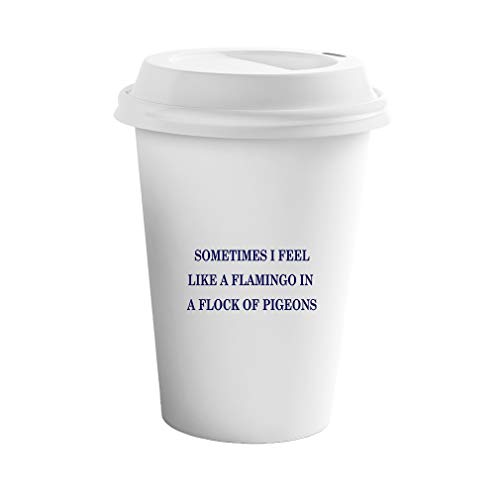 (Navy Sometimes I Feel Like A Flamingo in A Flock of Pigeons Ceramic Coffee Tumbler Travel Mug)