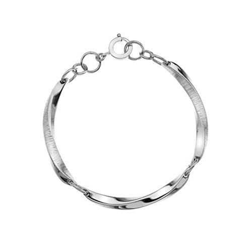 Argent sterling Selene 3sections sculptée texturé Bracelet 17,8cm