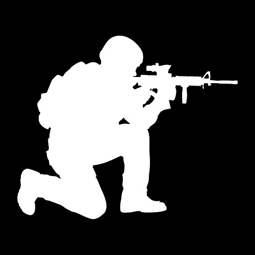 Auto Vynamics - MILITARY-SOLDIER08-3-MWHI - Matte White Vinyl Military Soldier Silhouette Decal - Crouched w/Gun 02 Design - 3-by-2.5-inches - (1) Piece Kit - Single Decal