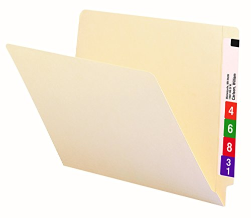 Smead End Tab File Folder, Shelf-Master Reinforced Straight-Cut Tab, Letter Size, Manila, 100 per Box (24109) Manila Double Strength End Tab
