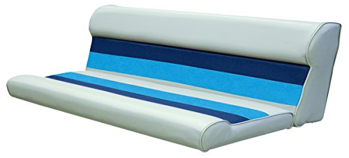 Wise 55-Inch Cushion Only Pontoon Bench Seat, Gray/Navy/Blue - Wise Pontoon Boat Furniture