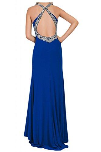 Toscana novia de mujer vestidos de Gasa de noche Rueckenfrei ranura al Prom vestidos de bola de largo Azul Real
