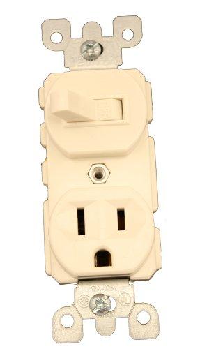 Leviton 5225 15 Amp, 120 Volt, Duplex Style Combination Single Pole Switch/Receptacle, Grounding, Light Almond