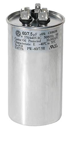PowerWell 60+7.5 uf MFD 370 or 440 Volt Dual Run Round Capacitor PW-60/7.5R Condenser Straight Cool/Heat Pump Air Conditioner (Capacitor 440v)