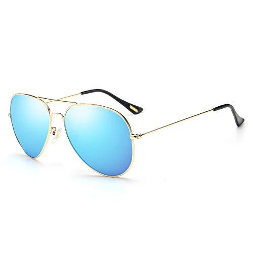Polarized Aviator Sunglasses for Men Women Memory Metal Lightweight Frame Classic Mirrored Shades