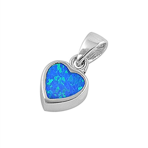 Heart Pendant Blue Simulated Opal .925 Sterling Silver Charm - Silver Jewelry Accessories Key Chain Bracelet Necklace Pendants