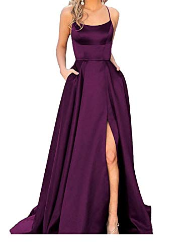 - PearlBridal Women's Spaghetti Straps Satin Halter Prom Dresses with Pockets Long Formal Juniors Dress Grape Size 14