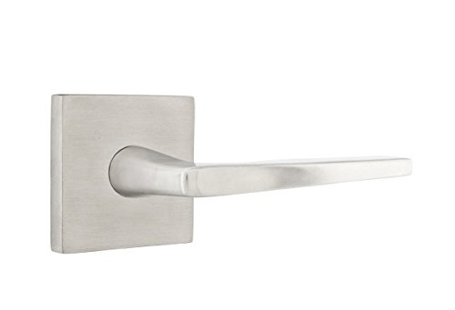 Emtek S200 PRIVACY SET Stainless Steel, 11 knob/lever options and 3 rosette options (SPECIFY IN NOTE TO SELLER Left or right handed for levers) (Hermes Lever, Square rosette (03))