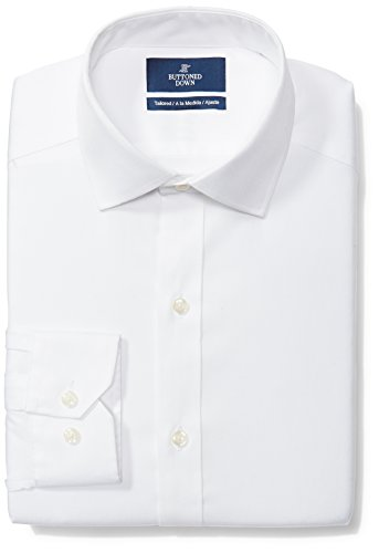 BUTTONED DOWN Men's Tailored Fit Spread-Collar Solid Non-Iron Dress Shirt (No Pocket), White, 17