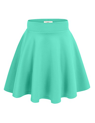 Junior Large Mint - Simlu Women's A Line Flared Skater Skirt, Mint, Large