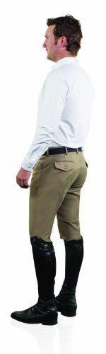 Mens Riding Breeches - Ovation Men's Euroweave Four Pocket Full Seat Dx Breeches Tan 32 R US