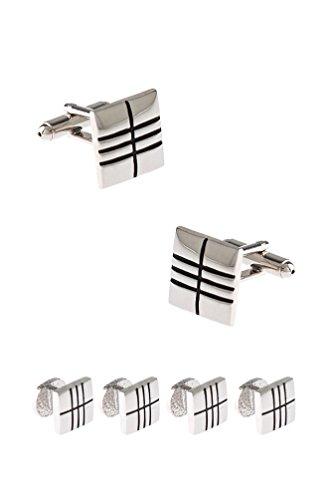 Engraved Stud Cufflinks - Engraved Squares Set Silver Metal Cufflink & Stud Set