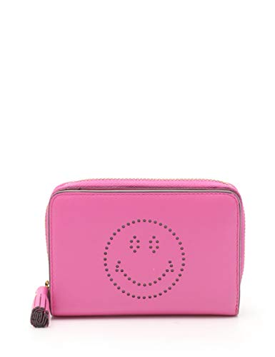 (アニヤハインドマーチ) ANYA HINDMARCH COMPACT WALLET SMILEY ラウンドファスナー二つ折り財布 レザー ピンク タッセル 中古   B07QG2547C