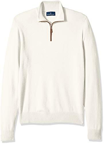 BUTTONED DOWN Men's 100% Premium Cashmere Quarter-Zip Sweater, Off/White, Small (Cashmere Quarter Zip Sweater)