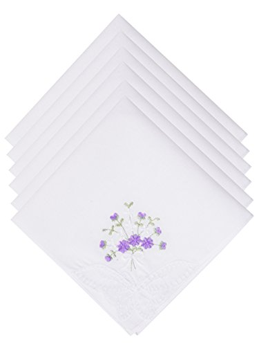 - Selected Hanky Ladies/Women's Cotton Handkerchief Flower Embroidered with Lace 6 Pack - Purple Floral