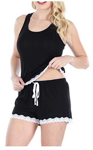 Sleepyheads Women's Sleepwear Stretchy Knit 2-Piece Lace Trim Tank Top & Shorts Pajamas Set (SH1928-1011-SML) ()