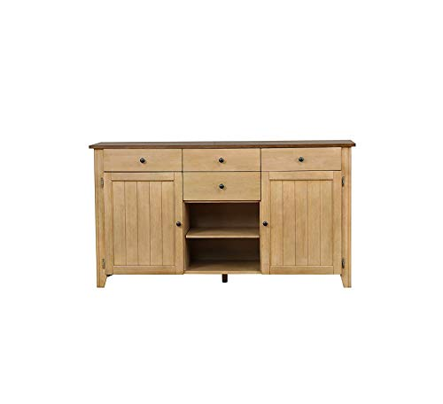 Wood & Style Furniture Brook Sideboard, Two DoorFour DrawersOpen Shelves, Distressed Light Creamy Wheat with Warm Pecan seat Home Office Commerial Heavy Duty Strong Décor